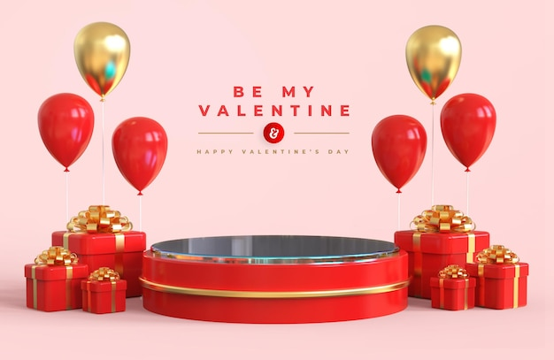Happy valentine's day with podium for product presentation and 3d composition