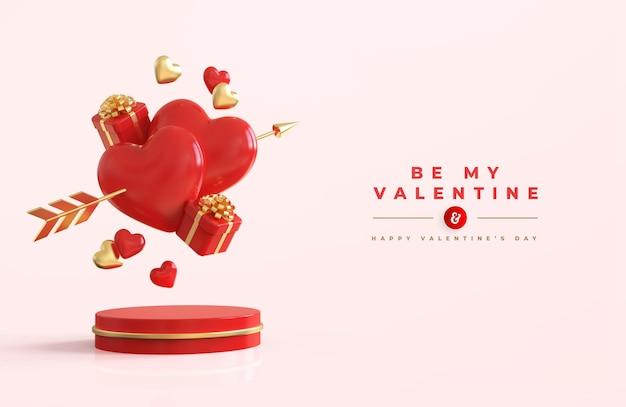 キューピッドと3d構成の矢印と赤いハートと幸せなバレンタインデー