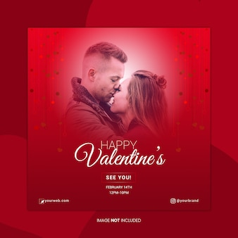 Happy valentine's social media banner template
