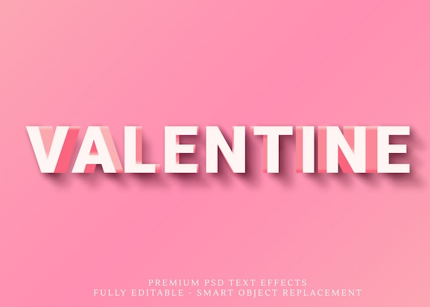 Happy valentine text style effect psd