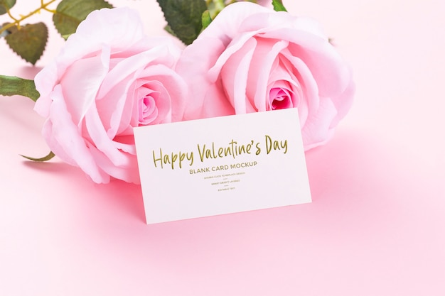 Happy valentines day blank card with pink roses mockup