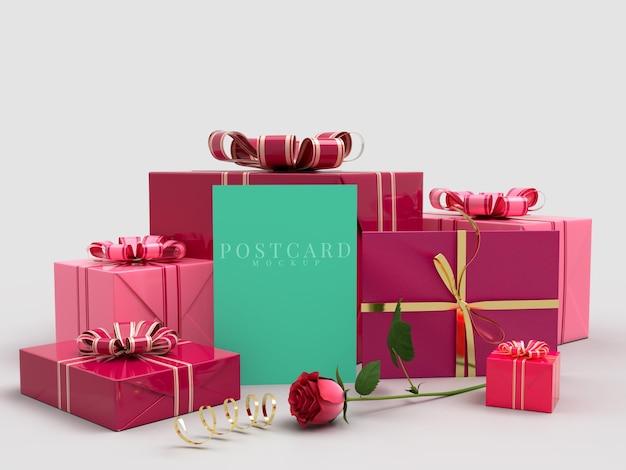 카드 모형과 함께 해피 발렌타인 데이 축하 선물 상자