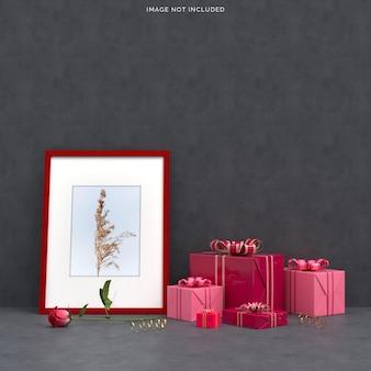 선물 상자 장식으로 해피 발렌타인 데이 축하 파티
