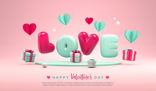 Happy valentines day greeting banner template with the word love in 3d rendering