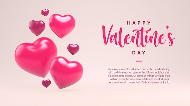 Happy valentines day greeting card template with hearts in 3d rendering