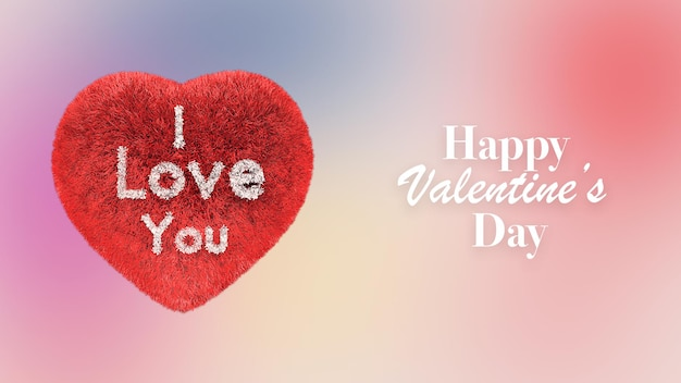 Happy valentines day greeting with i love you hearth