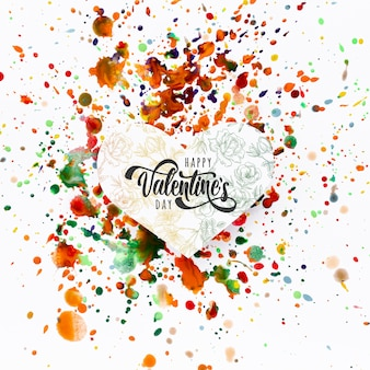 Happy valentines day lettering on colorful stains background