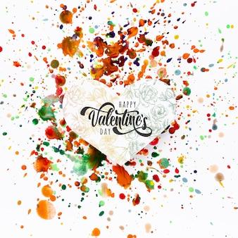 カラフルな汚れの背景に幸せなバレンタインデーレタリング