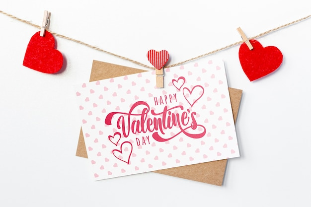 Happy valentines day lettering on white card
