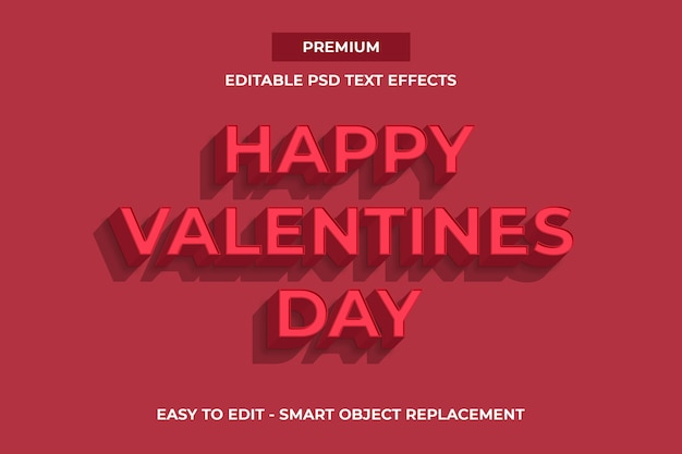 Happy valentines day text effects template