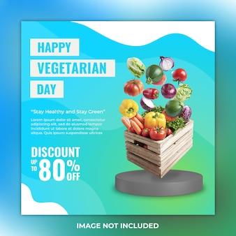 야채 소셜 미디어 게시물에 대한 행복한 채식주의자의 날 할인 판매