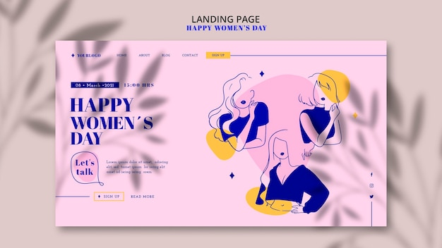 Happy woman day landing page