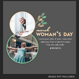 Happy woman's day and 8 march greeting instagram post template