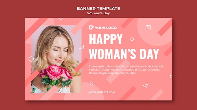 Happy woman's day banner template with woman holding bouquet of roses