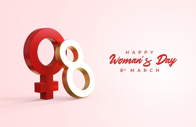 Happy woman's day with 3d eight and gender female symbol