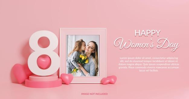 행복한 여성의 날 3d 렌더링 사진 프레임 모형