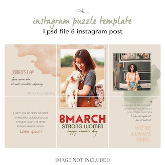 Happy women's day and 8 march greeting instagram collage template