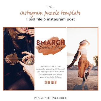 Happy women's day and 8 march greeting instagram puzzle, grid or collage template
