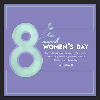 幸せな女性の日と3月8日挨拶instagramのポストテンプレート