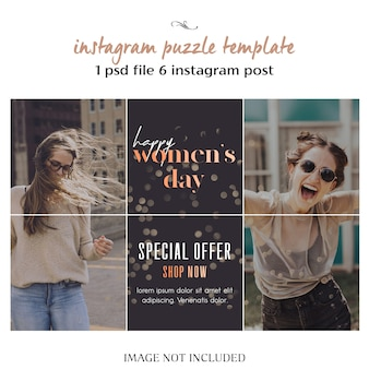 幸せな女性の日と3月8日グリーティングinstagramのパズル、グリッドまたはコラージュテンプレート