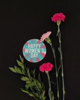 幸せな女性の日編集可能な花のモックアップ