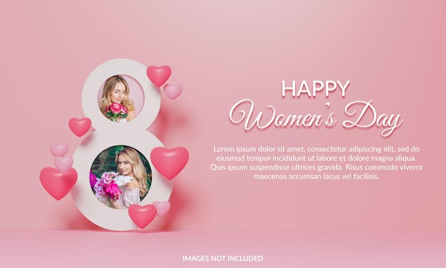 Happy women's day photo frame mockup 3d render