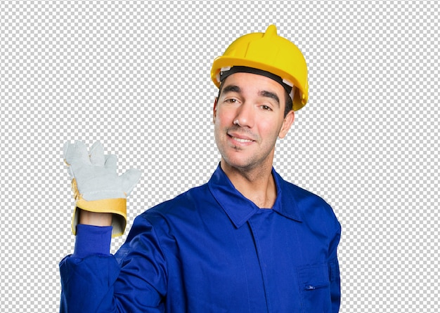 Happy worker welcoming on white background
