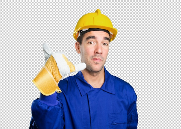 Happy worker with call gesture on white background