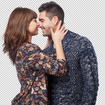 幸せな若いカップルの分離