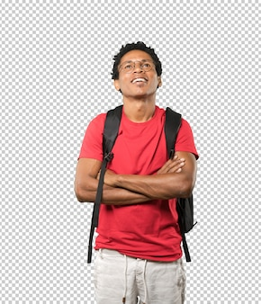 Happy young man looking up gesture