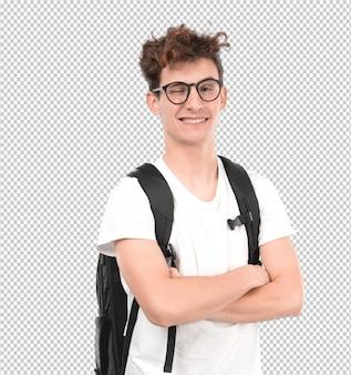 Счастливый молодой студент, подмигивая глаз