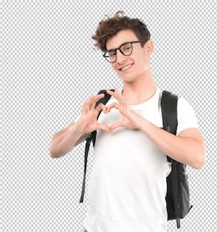 Счастливый молодой студент с жестом любви
