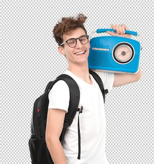 Happy young student with a vintage radio