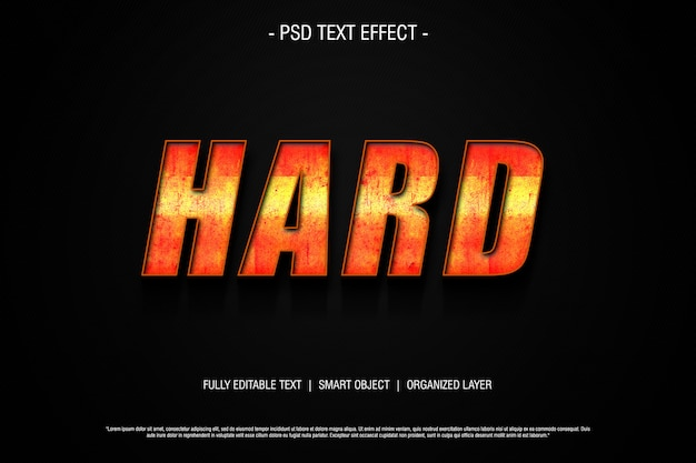 Hard 3d text effect