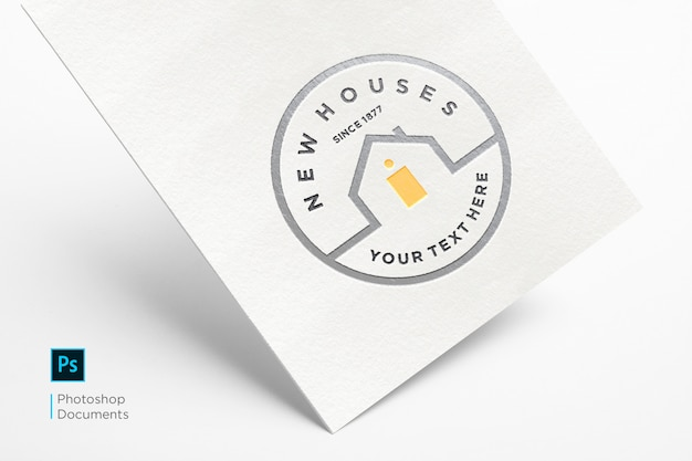 Hard card with embossed logo mockup