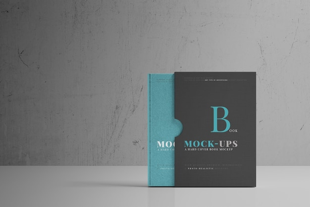 Hard cover book mockup with book sleeve