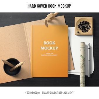 Hard cover book mockup with office concept