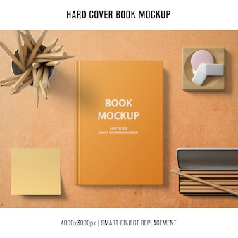 Hard cover book mockup with sticky note