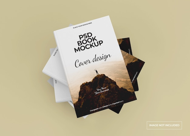 Hardcover book mockup design isolated