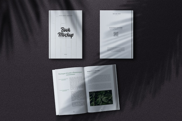 Hardcover book mockup from top view