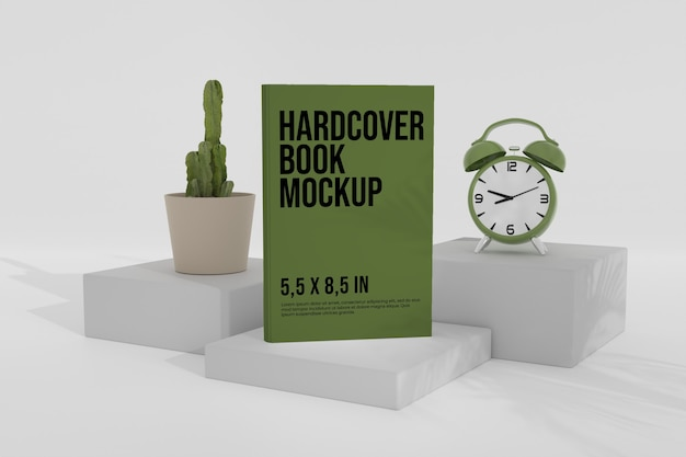 Hardcover book mockup over the podium with analog clock