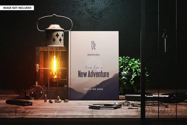 Hardcover book with vintage detective items mockup