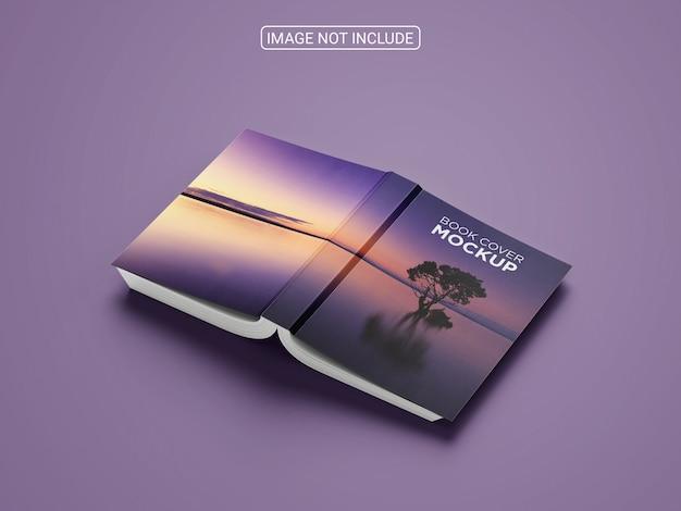 本のモックアップのハードカバーの正面図と背面図