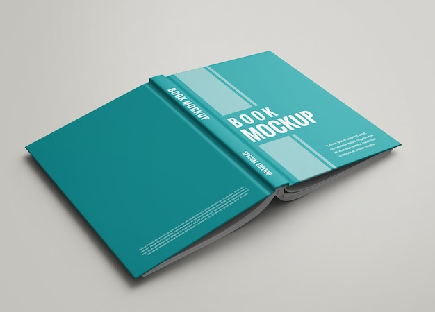Hardcover front and back view of book mockup