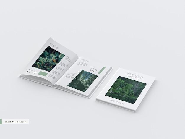 페이지 모형 내부의 하드 커버 열린보기 책
