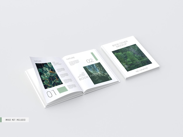 Hardcover open view book inside pages mockup