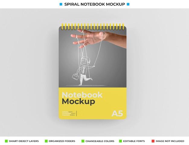 Дизайн макета спирального блокнота в твердом переплете