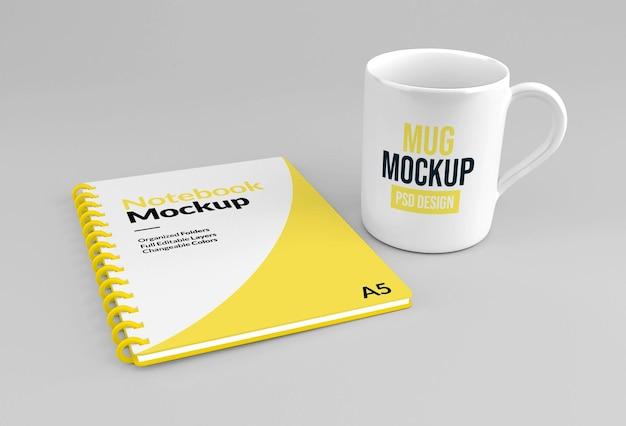 Hardcover spiral paper notebook and mug mockup