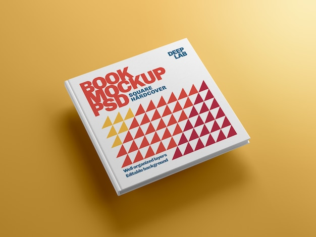 Hardcover square book with editable background color mockup