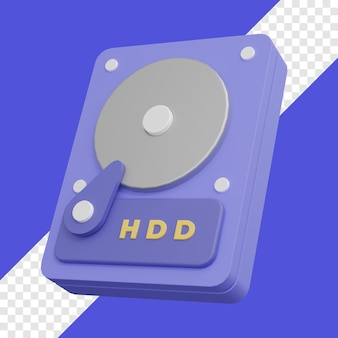 Жесткий диск для хранения 3d иллюстрации с прозрачным фоном